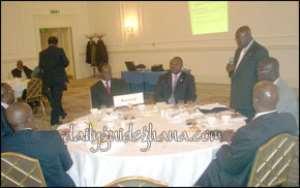 Nana Akufo-Addo addressing a breakfast meeting of the Ghanaian Business Community in London